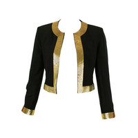 Moschino Couture! 90's Black and Gold Sequins Blazer Jacket