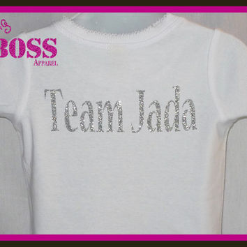 Team Shirt or Name Shirt or Sports Bling Glitter Girls Sparkle Custom Design Color Gymnastics Cheer Volleyball Softball Gift Personalized