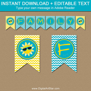 Family Reunion Banner - Summer Party Decor Happy Birthday Banner Retirement Party Banner Yellow Turquoise Banner Instant Download Printable