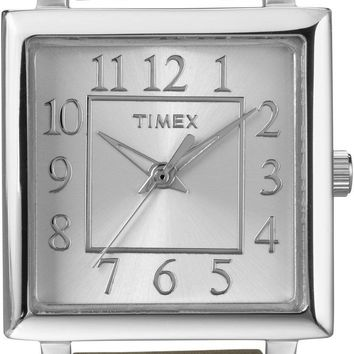 Timex Womens Square Dial Taupe Leather Strap Watch