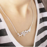 "Big Hot fashion Korean ""I love you"" Letter & Diamond Heart Necklace--No129"