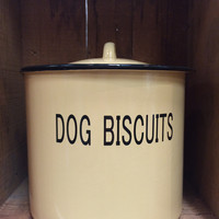 "8 1/2"" Dog Biscuits Round Enamel Container"