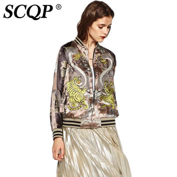 SCQP Animal Embroidery Reversible Bomber Jacket Women 2016 O-Neck Zipper Pockets Spring Jackets Woman Tiger Laides Basic Coats