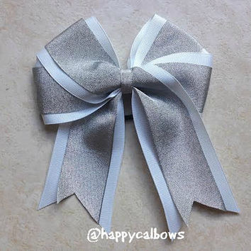 NEW 2 1/4 Inch Pinwheel White and Silver Shiny Accent Layered Grosgrain Cheer or Softball Bow