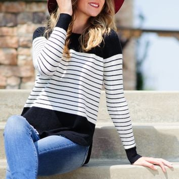 * Cause You Need It Striped Sweater : Black/White