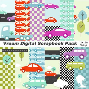 Digital Scrapbooking Kit: Digital Papers & Clip Art Pack - Vroom Cars, Road, Clouds and Trees, in Blue, Green, Red and Purple