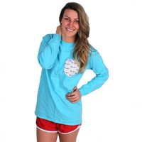 The Limited Edition Longshanks Unisex Long Sleeve Tee Shirt in Lagoon Blue by the Frat Collection