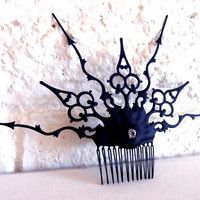 Steampunk Victorian Hair Comb black Gothic hair Ornament- In the London Fog