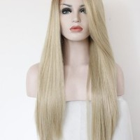 K'ryssma® Fashion Ombre Blonde Glueless Lace Front Wigs 2 Tone Color Brown Roots Side Part Long Natural Straight Heat Resistant Synthetic Hair Replacement Wig For Women Half Hand Tied