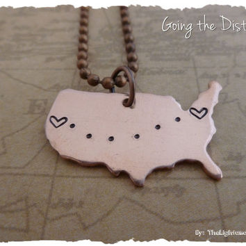 USA Map - Copper - Long Distance Relationship or Friendship Necklace