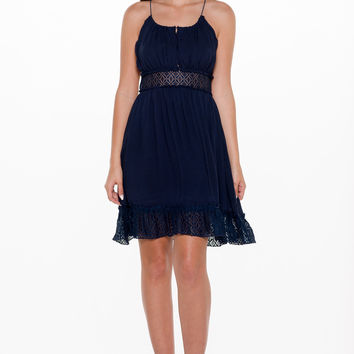 (alm) Lace details boho inspired blue dress