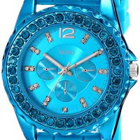 XOXO Womens XO8043 Rhinestone Accent Turquoise Silicone Strap Watch