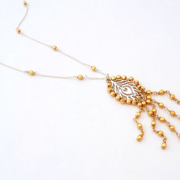 Peacock Feather Mixed Metals Necklace - Wire Wrapped Sterling Silver - Beaded Gold Filled Fringe Necklace
