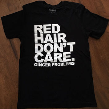Classic Red Hair Don't Care Black Tee