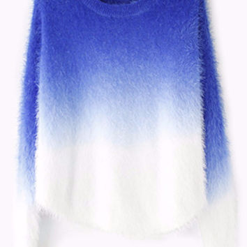 Cashmere O-neck Fluffy Wool Pullovers Sweater