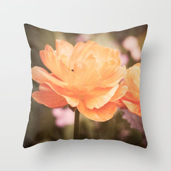 Poppy with Vintage Feel Photo Throw Pillow Cover Orange Nature Garden 16x16 18x18 20x20 Easy Decor Floral Living Room Bedroom Gift Idea