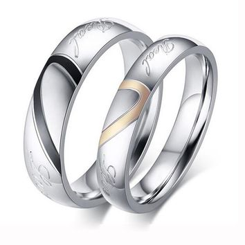 Factory Price Silver Color Couple Ring Quality Stainless Steel Heart Alliance Ring For Women Men Full Size 4-15 gift for lover