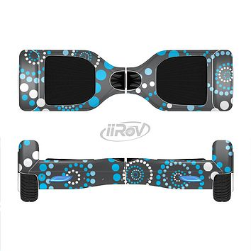 The Retro Blue Circle-Dotted Pattern Full-Body Skin Set for the Smart Drifting SuperCharged iiRov HoverBoard