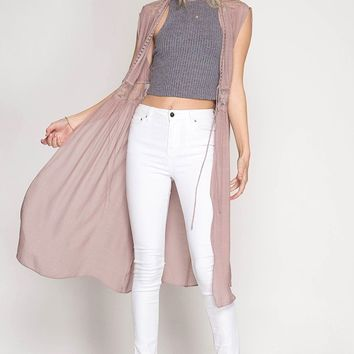 Sleeveless Midi Cardigan Vest - Dusty Rose