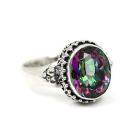 Sterling Silver Oxidized Beadwork 11x9mm Oval Rainbow Mystic Topaz Ring