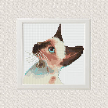 Watercolour Cat Cross Stitch Pattern PDF Counted cross stitch Modern Animal cross stitch Instant  Download - Lime green yellow blue