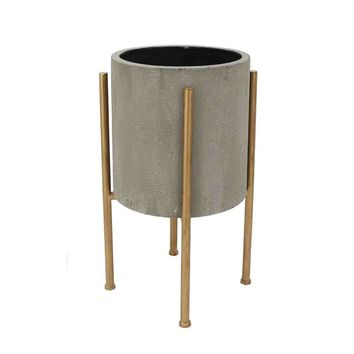 Tranisitional Planter On Golden Stand- Gray & Gold, Small