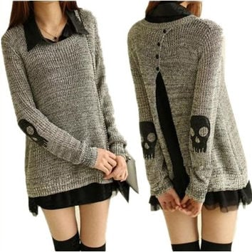 Skull Applique Twinset Sweater for Women Chiffon One-Piece Dress Punk Pullover Sweater (Color: Grey) = 1958357892