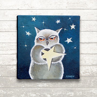 Make a Wish Owl Painting, Baby Owl Decor, Nursery Owl Art, Original Art Acrylic Painting, Kids Room Decor