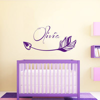 Name Wall Decal Girl Personalized Name Stickers Arrow Vinyl Decals Art Mural Home Decor Art Interior Design Boho Bedroom Nursery Decor KY163