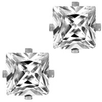 Princess Square Cut Clear CZ Stainless Steel Men Magnetic Stud Earrings No Piercing 5mm