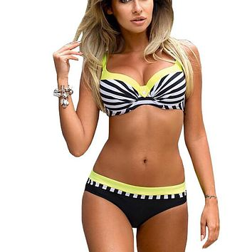 Large Size Striped Patchwork 2018 Women Push up Swimsuits Bikini set Sexy Retro Swimwear Female Bandage Biquini Bather Beachwear