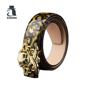 Skull buckle luxury belts skull designer wide genuine leather