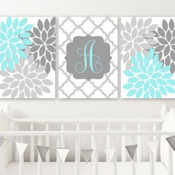 Aqua Gray Girl Flower Monogram Wall Art, Girl Monogram Nursery Decor, Baby Girl Nursery Wall Art, Canvas or Prints, Set of 3 Above Crib Art
