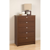 Valhalla Designer Series Medium Brown Walnut 5-Drawer Chest | Overstock.com Shopping - The Best Deals on Dressers