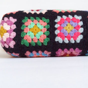 Vintage Granny Square Crocheted Afghan Wool Black Multicolor Lap blanket Throw Home Decor