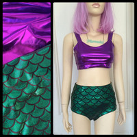 Green and Purple Mermaid Two Piece Swimsuit MADE TO ORDER