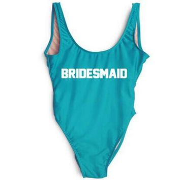 BRIDESMAID Text Print - Women's Novelty Sporty One-Piece Swimsuit