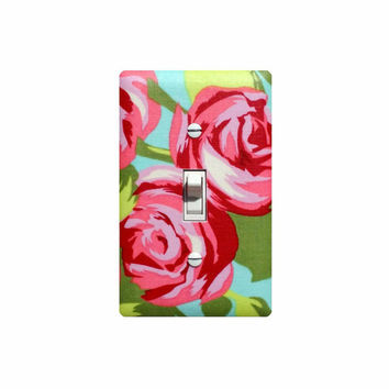 Tumbled Rose Light Switch Plate Cover / Baby Girl Nursery Decor / Pink Aqua Green Flower by Amy Butler