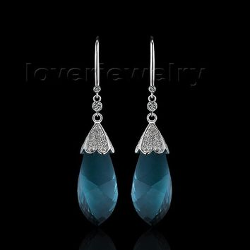 14KT White Gold Tear-drop Facet Umbrella Bule Topaz Diamond Earrings