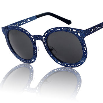 Metal Stylish Mirror Star Hollow Out Sunglasses [4915046340]