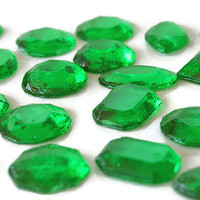 Green Edible Jewels - Hard Candy Emerald Green - 60 Candy Pack - Cake Decorations, Wedding Favors, Party Favors