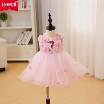 IYEAL Baby Girl Dress 1 Year Birthday Dresses Flower Girl Infant Baptism Vestido Infantil Princess Wedding Party Dress for 0-18M