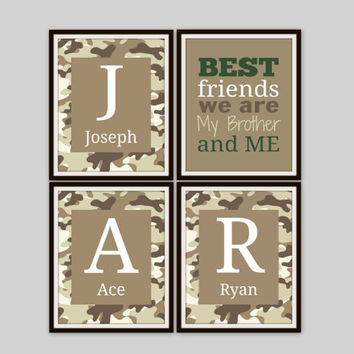 Brother and Sister Wall Art - BEST FRIENDS we are Quote, Camo Print, Hunting Decor, Boys Room, Nursery Decor, Kids Room, Brother and Sister