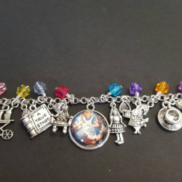 Disney alice in wonderland inspired stainless steel charm bracelet