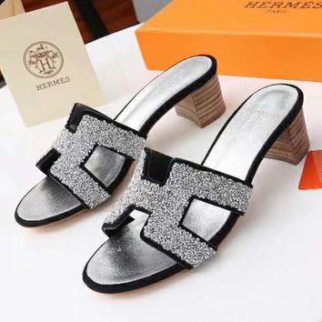 Hermes Women Fashion Casual Heels Shoes Sandals Shoes-5