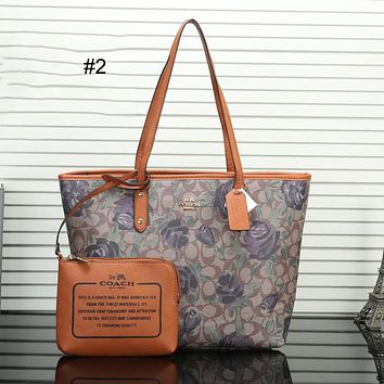 COACH 2018 trend female tote bag mother bag double-sided shopping bag two-piece