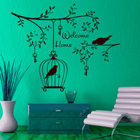 Wall Decals Welcome Home Decal Vinyl Sticker Bird Cell Key Home Decor Bedroom Dorm Living Room Window Door MN 324