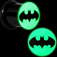 00 Gauge Black Acrylic Glow in the Dark Batman Plug Set | Body Candy Body Jewelry