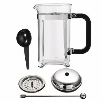 French Frame Heat Resistant Glass  Coffee Tea Maker Pot
