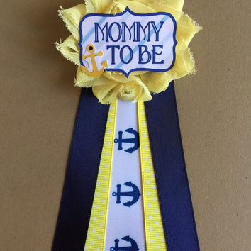 Yellow Navy Anchors Nautical Baby Shower Mommy-to-be Flower Ribbon Pin Corsage Glitter Rhinestone Mommy Mom New Mom mama to be